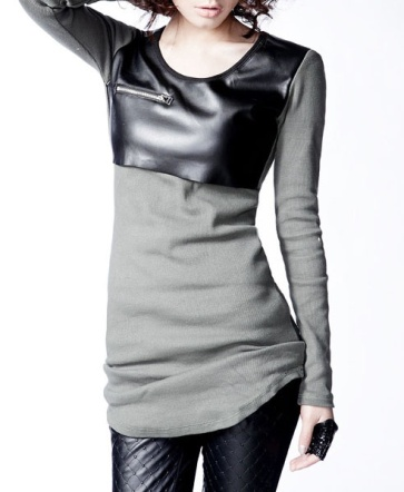 Knit Top with Faux Leather Front Chicnovacom